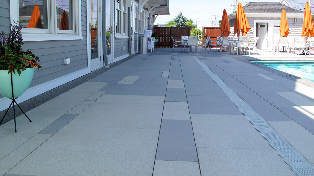 Concrete Pavers Set in Linear Courses