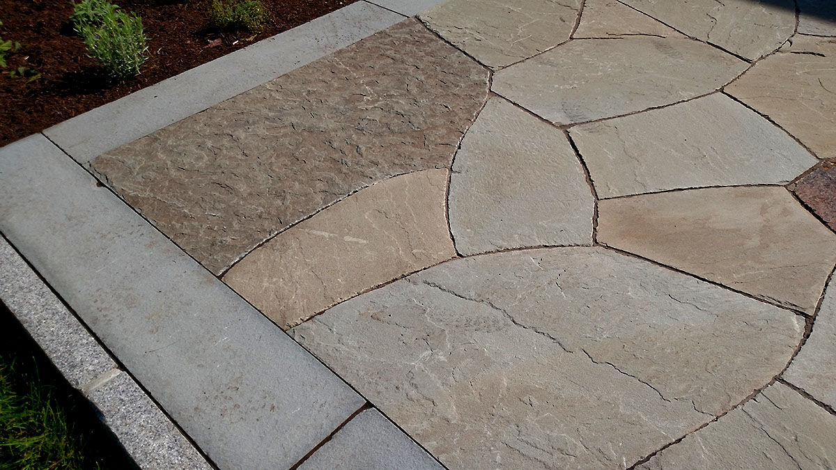 Full Color, Natural Cleft Bluestone Flagging W/ Bluestone & Granite Border