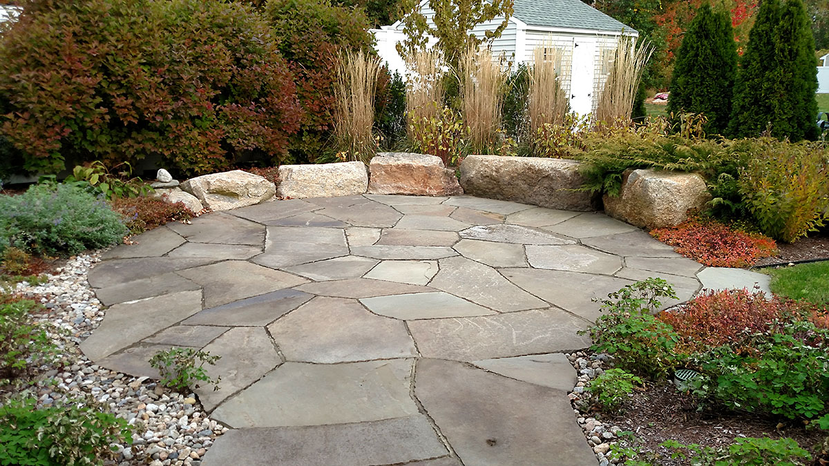 Full Color, Natural Cleft Bluestone Flagging W/ Boulders
