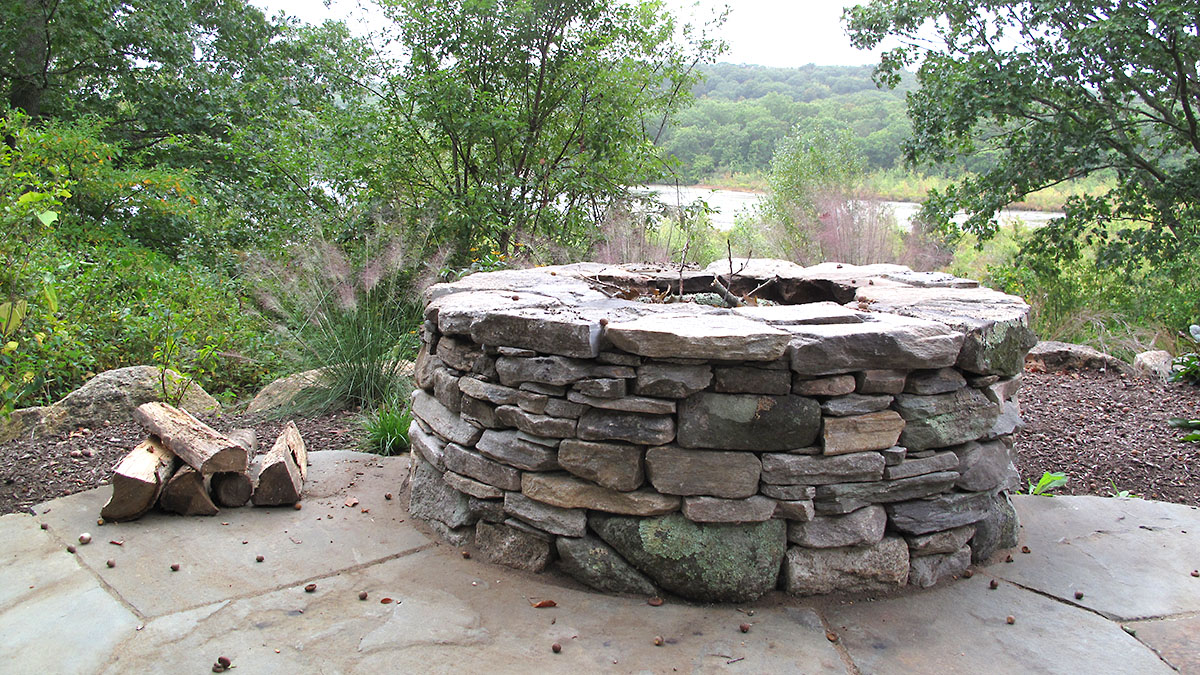 New England Fieldstone Combined With Stone From The Site