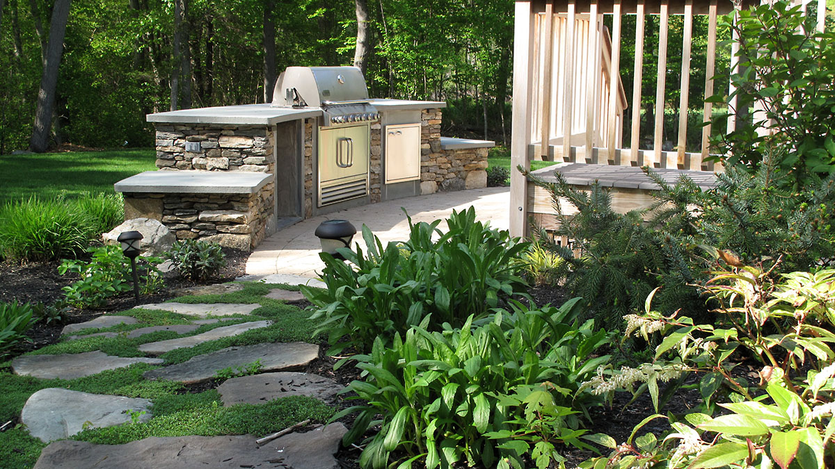 Outdoor Kitchen with Seating Benches