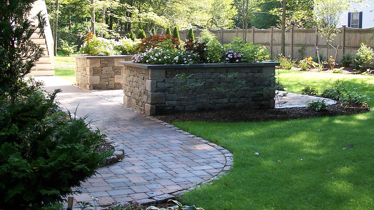Concrete Paver Walkway With Cobblestone Edging