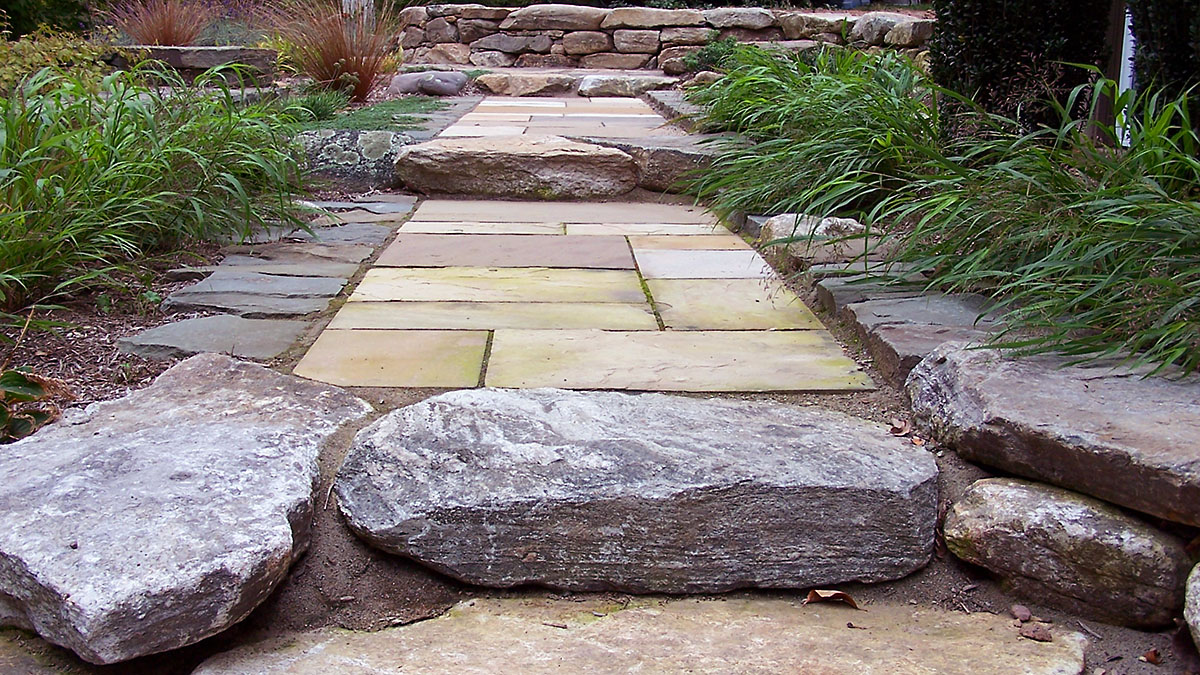 Sandstone Walkway With New England Fieldstone Risers