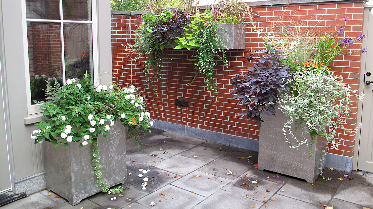 Custom Designed/Built Stainless Steel Planters With Annuals & Perennials