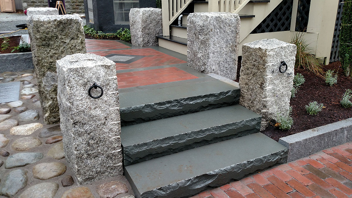 Salvaged Granite Posts, Bluestone Steps, Brick Landing