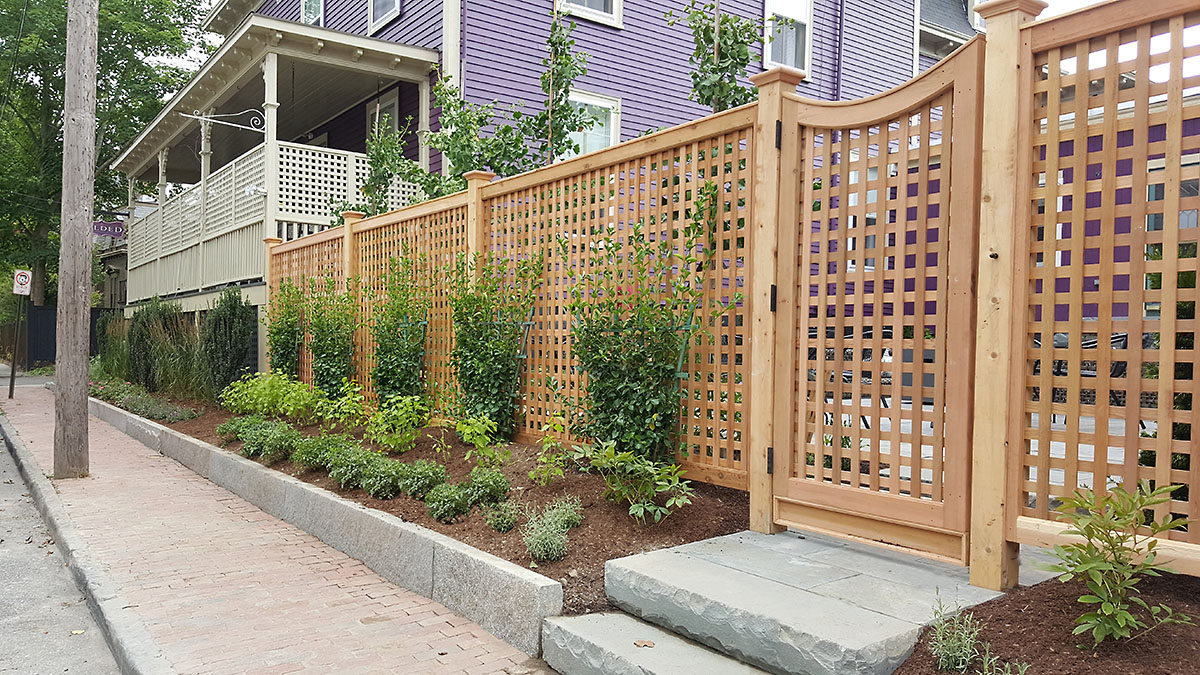 A Trellis Fence Provides Privacy for the Courtyard Users