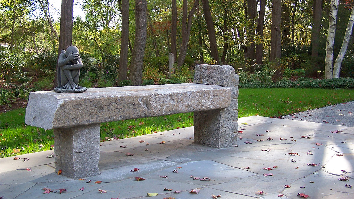 A Custom Fabricated Bench Made from Salvaged Granite