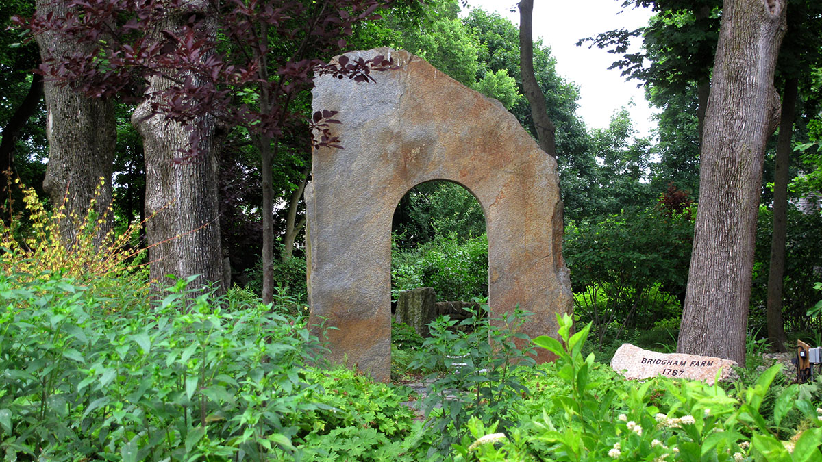 This Goshen Stone Entrance Slab Welcomes Visitors to the Garden